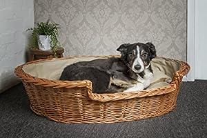 Prestige Panier en osier avec coussin pour chien