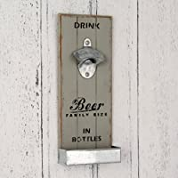 Wall Mounted Antique Grey Metal Bottle Opener for Beer Lovers
