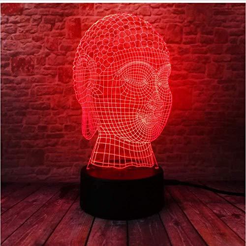 3D LED Illusionslampe Neuheit Tathagata Buddhismus Segne Buddha Kopf 7 Farbverlauf Schlafen Nachtlicht Kind Freund Familie Geburtstag Weihnachten Geschenklampe