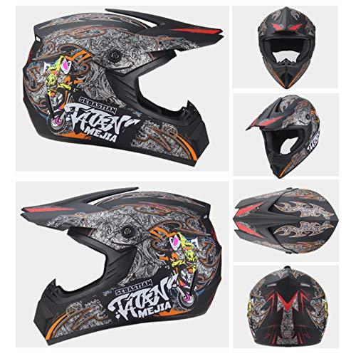 Preisvergleich Produktbild HBLWX Motorradhelm,  Off-Road-Helm,  Vollgesichts-Graffiti-Persönlichkeit Bequeme Sicherheit für Bergabfahrt Straße Bergstraße Autobahn, S