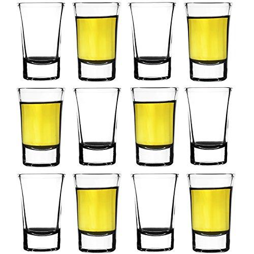 12er Set Schnapsgläser 5cl (50ml) aus Glas | Shot-Gläser Pinnchen Wodka Ouzo Vodka Tequila Whiskey Stamper