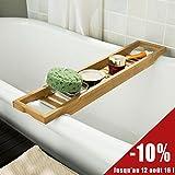 SoBuy® FRG18-N Pont de Baignoire en Bambou, Porte savon et gel douche, L70cm x P14,5cmxH4,5cm