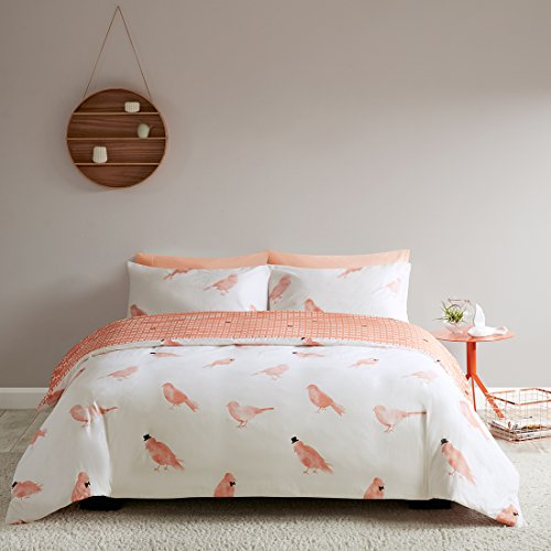 Baumwolle Queen-size Bettbezug (URBAN HABITAT Cardiff 3 tlg. Wendebettwäsche-Set mit Reißverschluss 100% Baumwolle Bettgarnitur Kopfkissenbezügen King Size, Coral Pink, 230*220cm+50*75cm)