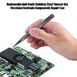 Fdit 2 pcs Pinzas de Acero Inoxidable Antiestáticas Juego Componentes Electrónicos de Precisión Herramienta de Reparación Pinzas de Mantenimiento para Electrónica Joyas