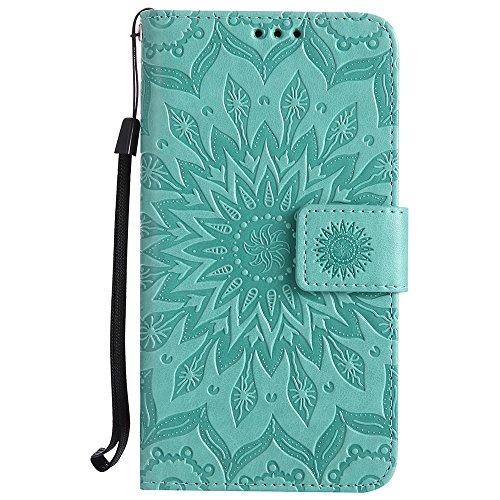 Für Huawei Hornor 7i Fall, Prägen Sonnenblume Magnetic Pattern Premium Soft PU Leder Brieftasche Stand Case Cover mit Lanyard & Halter & Card Slots ( Color : Gray ) Green