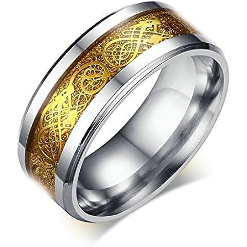 Alimab gioielli anelli uomini Acciaio inossidabile liscio Dragon Banda nozze