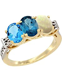 14 ct Gelb Gold Natural Swiss Blau Topas, London Blau Topas & Opal Ring Ehering 7 x 5 mm Oval Diamant Accent, Größe S