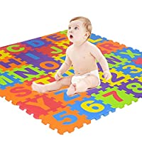 Kid Puzzle Exercise Play Mat, Womdee Foam Mat of Alphabet Puzzle Pieces– Great for Kids to Learn and Play – Interlocking Puzzle Pieces Colorful Foam Play Mat Puzzle Alphabet & Number Crawling Mat