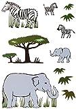Unbekannt 11 TLG. Set: Fensterbilder / Sticker -  Zebra & Elefanten  - Fensterbild Aufkleber für Kinderzimmer - Kinder - Wandtattoo Wandsticker Fensterfolie - Zootier..