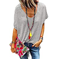 GAGA Womens Tops Casual Loose Short Sleeve V Neck T Shirts Tee Blouse Gery 3XL