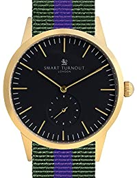 Smart Turnout Signature Hombre Reloj de cuarzo dorado con esfera analógica pantalla y correa de nailon verde oliva stk3/GO/56/W–HB