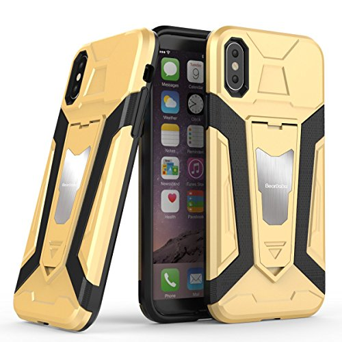 iPhone X Hülle ZaPro® Schutzhülle iPhone X [Rutschfest Kratzfest] TPU Bumper Silikon Hüllen Drop Resistance Handyhülle mit Ständer für Apple iPhone X Case Cover (Gold) (Maßgeschneiderte Leder)