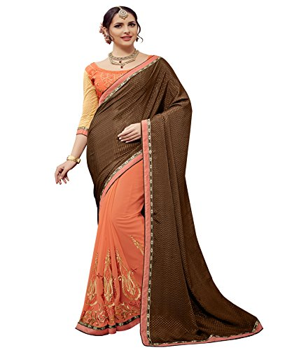 Sarees ( Umang NX Party wear Peach & Brown Georgette & Jacquard Embroidered Saree (Umang NX_UN1017))