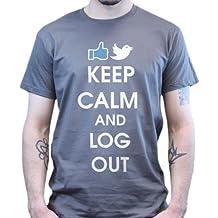Keep Calm and Log Out Social Media Geek Nerd Funny Fun T-shirt
