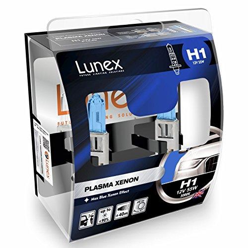 LUNEX H1 PLASMA XENON, Ampoules Halogènes à Phare, 12V 55W P14,5s, 5000K duobox (2 units)