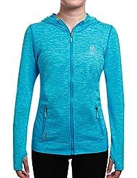 SEEU Running Jackets Women Workout Hoodie Full Zip with Pockets Blue M