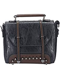Leather Finishing Sling Bag By Tiny Treasure | Sling Bag Cum Hand Bag (Black)