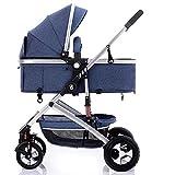GKBMSP Kinderwagen 2 in 1 Kinderwagen Reisesystem Zwei Wege Implementierung mit umkehrbarer Korbwiege Faltbarer Kinderwagen Geeignet für 0-36 Monate Baby - Blau