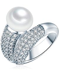 Valero Pearls - Bague - Perles de culture d'eau douce - Argent sterling 925 - Bijoux de perles oxyde de zirconium - Bijoux pour femmes - En plusieurs tailles, bague oxyde de zirconium - 60201416