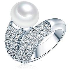 Idea Regalo - Valero Pearls Anello da Donna in Argento Sterling 925 con rodio con Perle coltivate d'acqua dolce bianco e Zircone bianco Taglia 10 60201416