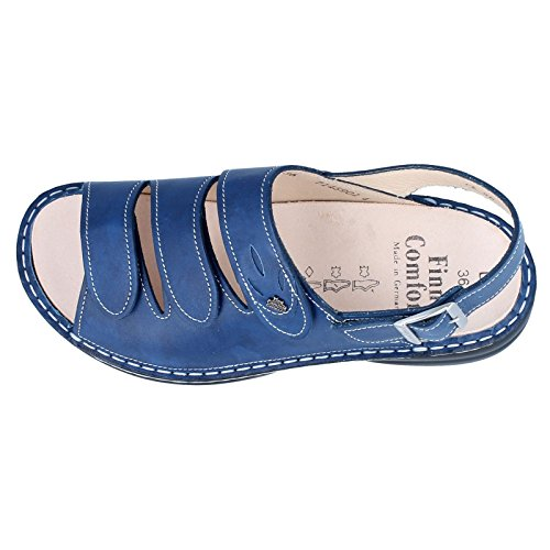 Finn Comfort Womens Saloniki 2557 Leather Sandals Mozart Bluette