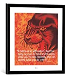 kunst für alle Bild mit Bilder-Rahmen: Ed Hardy Ed Hardy (I Quote) - Dekorativer Kunstdruck, Hochwertig gerahmt, 40x40 cm, Schwarz/Kante Grau