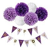Happy Birthday Girlande Set, Wartoon Habby Birthday Alles Gute Zum Dekoration Deko Geburtstag Girlande Quasten Girlande Geburtstag und 6 Seidenpapier Pompons Pompoms für Geburtstag Dekoration - Helles Lila, Dunkles Violet und Weiß