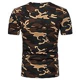 TWBB Herren Tarnung O-Ausschnitt Kurzarm bedrucktes T-Shirt (L2, Gelb)