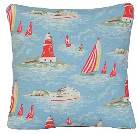Cath Kidston Fabric Blue Boats Cushion Cover Shabby Chic Decorative