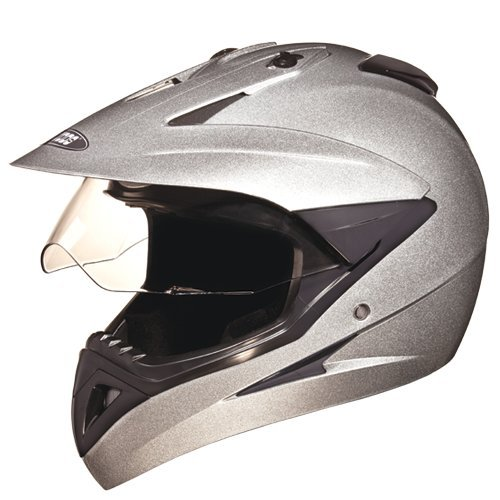 Studds Motocross Helmet with Visor (Silver and Grey, L)