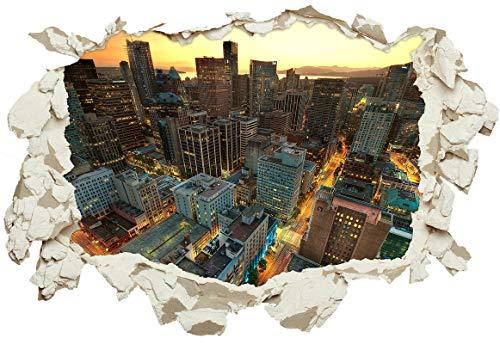 Unified Distribution Vancouver Sunset Kanada - Wandtattoo mit 3D Effekt, Aufkleber für Wände und Türen Größe: 92x61 cm, Stil: Durchbruch