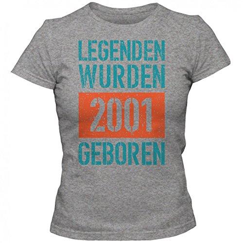 Legenden 2001 #1 T-Shirt | Jahrgang 2001 | Geschenkidee | 16. Geburtstag | Frauen | Shirt © Shirt Happenz Graumeliert (Grey Melange L191)