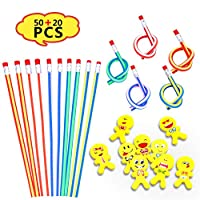 SAKUUMI Soft Flexible Bendy Pencils Fun Gifts - 50 Pcs Multi Colored Bendable pencil with 20 Pcs Emoji Smiley Rubbers Erasers for Students or Children