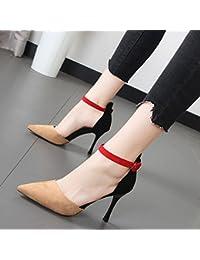 Xue Qiqi Hechizo de moda color zapatos de punta fina con ranuras para solo zapatos de tacón, sandalias,39, y color