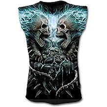 Flaming Spine, gótico cráneos de metal fantasía camisa sin mangas negro - M - Espiral