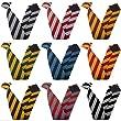 Clip On Block Stripe School Ties (Colour & Size Variations) (14 inch clip on (Junior School), Gold & Navy)