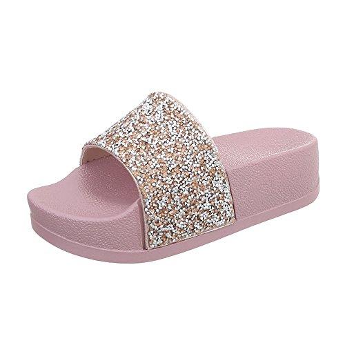 Ital-Design Pantoletten Damen-Schuhe Sandalen Sandaletten Beige Multi, Gr 37, P-758-