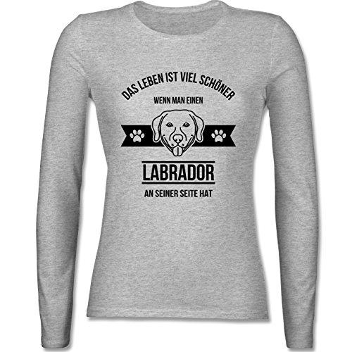 Hunde - Das Leben ist viel schöner wenn man einen Labrador an seiner Seite hat - tailliertes Longsleeve / langärmeliges T-Shirt für Damen Grau Meliert
