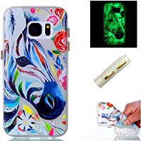 Samsung Galaxy S7 Edge Case,Samsung Galaxy S7 Edge Luminous Case,TOYYM Glow in the Dark Effect Green Night Transparent Soft TPU Silicone Rubber [Scratch-Proof/Anti-Shock] Funny Zebra Printed Pattern Design Case Cover Back Shell Skin for Samsung Galaxy S7 Edge