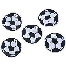 5 parches bordados para coser o planchar con diseño de fútbol Fishroll (blanco + negro