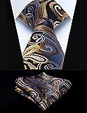 Hisdern Herren Krawatte Taschentuch Paisley Krawatte & Einstecktuch Set