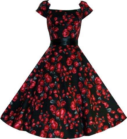 Hearts and Roses 50s Black Red Rose Vintage Tea Dress