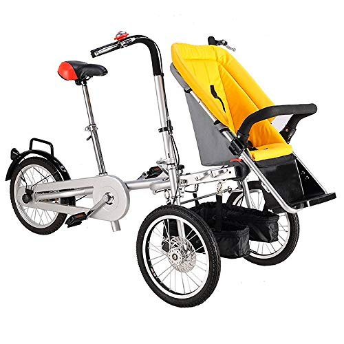 K-Y Kinderfahrrad Klappfahrrad mit 3 Rädern für 1 Erwachsenen- und Zwillingsbaby, Eltern-Kind-Fahrrad, 2-in-1-Kinderwagenfahrrad, 4 Modi, freies Cabrio