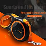 #4: Pets Empire Retractable Dog Leash, 5m/16ft Walking Jogging Training Leash with Polyester Tape for Small Medium Dog up to 20kg/44lbs, with Hand Grip and One Button Brake & Lock 1 Piece Color May Vary