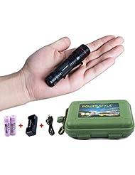 Coomatec SD-200 Mini EDC Linterna Recargable LED, Zoom, 450lm 3 Modos, Resistente Al Agua