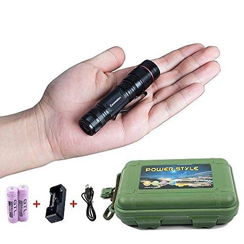 Coomatec SD-200 Kit Ultra Puissante 350 Lumens Lampe de Torche Poche EDC LED rechargeable Zoom Flashlight 14500 Chargeur