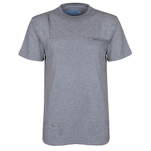 AyeGear® T5 - Multi Tasche T-Shirt (5 Discreet Taschen) Blau
