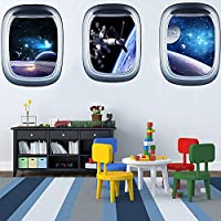 ITTA Set of 3 Space Capsule Window Wall Sticker Astronaut Outer Space 3D Mural Wall Decals for Bedroom Living Room Kids Room Home Decor(each pcs: 23 x 17 inch)
