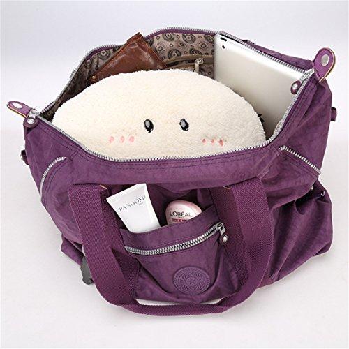 JOTHIN Nylon Handtasche große Kapazität Freizeit Fitness Reisegepäck Tasche kurze Reise Tasche 60x37x17cm(L*H*W) (Schwarz) Lila