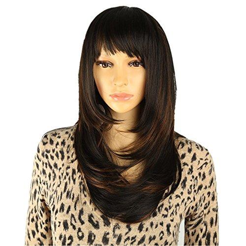 (longlove Charming Perücken New Fashion Frauen Party Big gewellt Sexy Full Hair Perücke Echthaar natürliche + eine kostenlose Perücke Kappe)